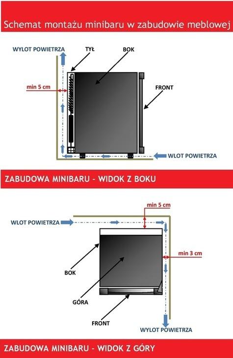 Schemat montażu minibaru BOX40